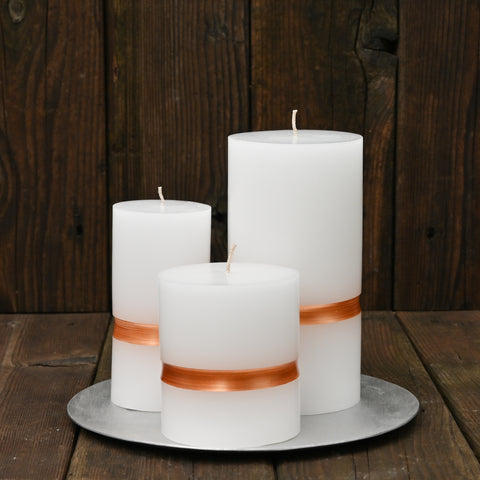 Copper Stripe Candle Set