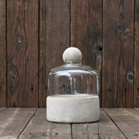 Bottle Terrarium with Concrete Base