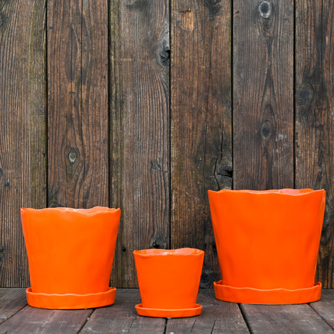 Orange Tika Container with Saucer
