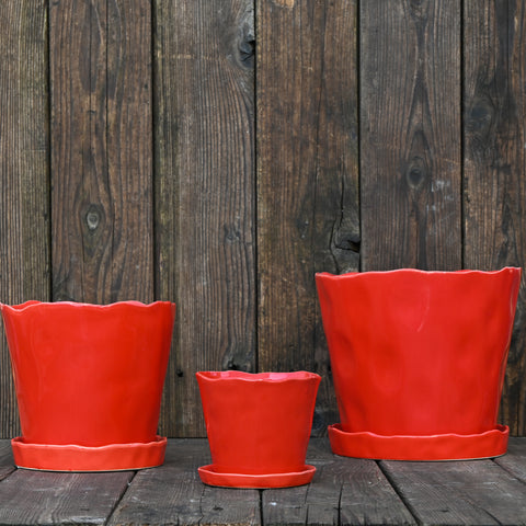 Red Tika Container with Saucer