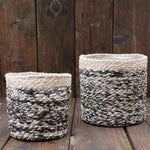 Jute Basket for Houseplants in Natural/Black