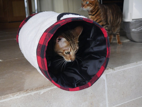 Rosewood Luxury Buffalo Check Christmas Cat Tunnel