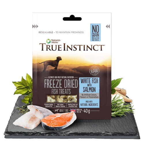 Natures Menu True Instinct Freeze Dried Adult Dog Treats White Fish with Salmon