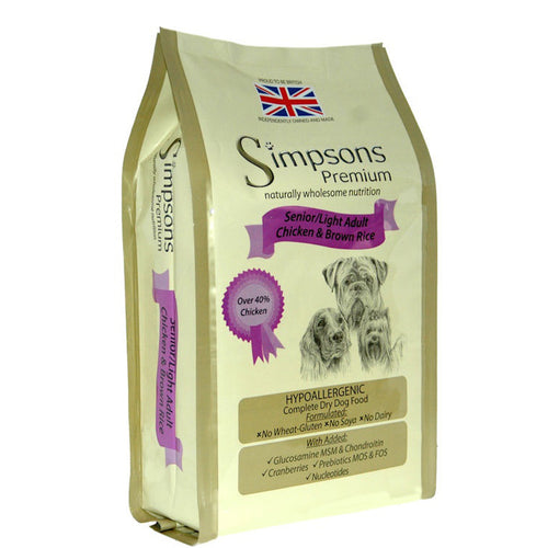 Simpsons Premium Senior/Light Dog Food Chicken & Brown Rice 12kg