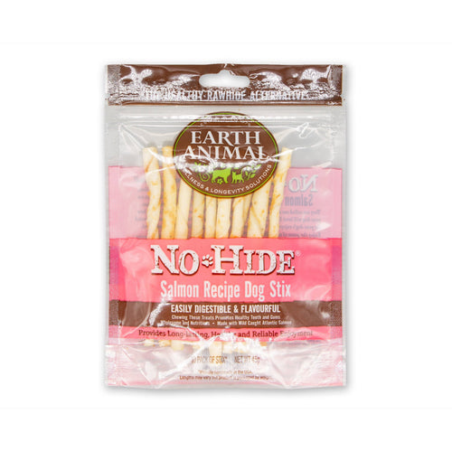 Earth Animal No-Hide Salmon Dog Stix 10pk, 45g