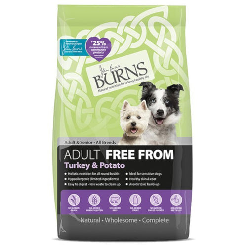 Burns Free From Adult/Senior Dog Food Turkey & Potato 12kg