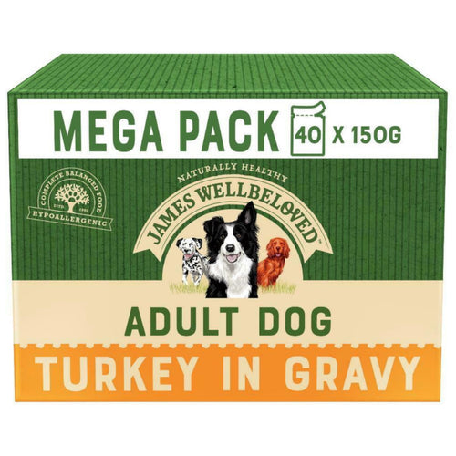 James Wellbeloved Adult Dog Food Pouches Turkey 40x150g