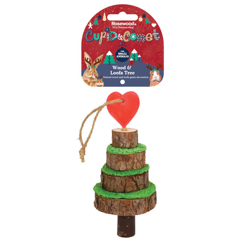 Rosewood Cupid & Comet Wood and Loofa Christmas Tree for Small Animals