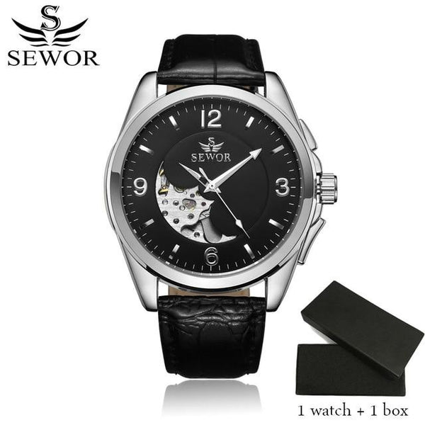 SEWOR Automatic Self-Wind Mens Automatic Watch Leather Strap Business Wristwatches Watch Skeleton Mecanico Male With Box SWQ48 - LuxurenaMall