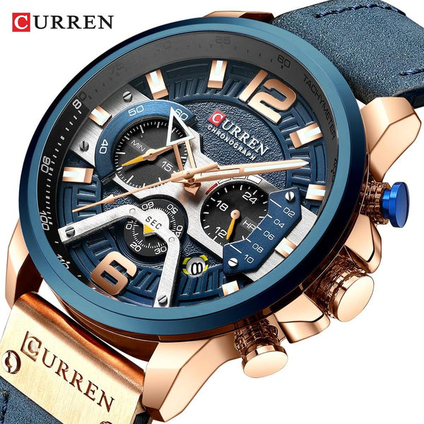 CURREN Watch Mens Horloges Top Brand Luxury Men Casual Leather Waterproof Chronograph Men Sport Quartz Clock Relogio Masculino-LuxurenaMall