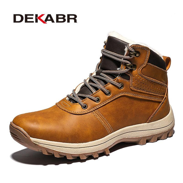DEKABR Winter Warm Men Boots Genuine Leather Fur Plus Men Snow Boots Handmade Waterproof Working Ankle Boots High Top Men Shoes - LuxurenaMall
