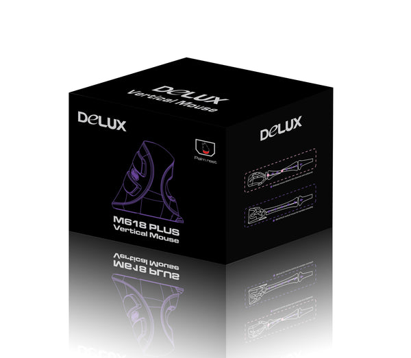 Delux PLUS Ergonomics Vertical Gaming Wired Mouse 6 Buttons - LuxurenaMall