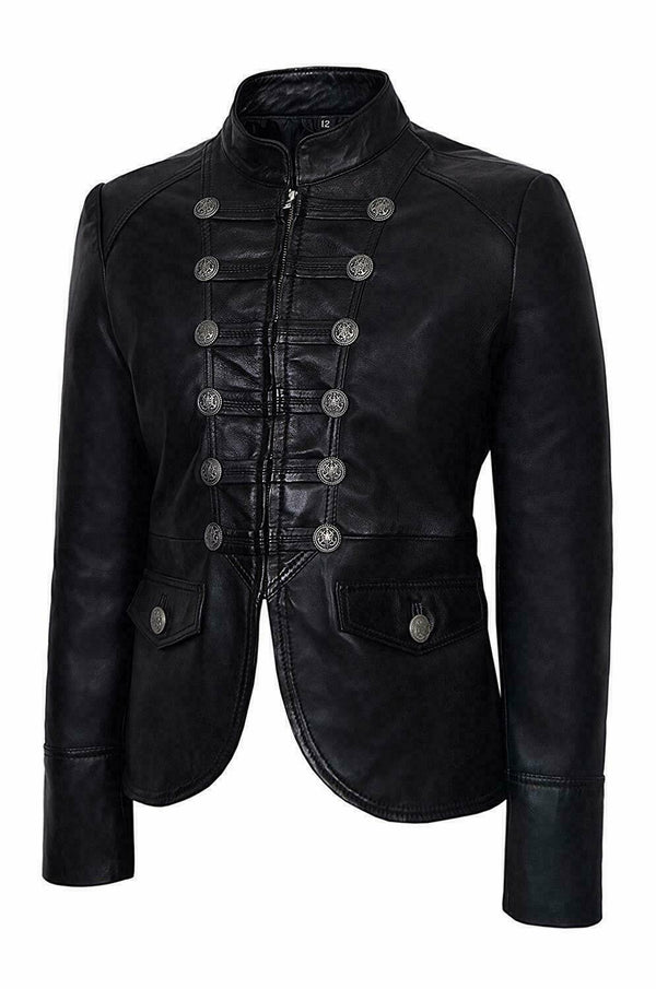 Black Military Women Top Parade Style Soft Real Nappa Genuine Leather Jacket - LuxurenaMall