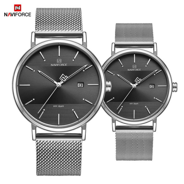 NAVIFORCE Casual Fashion Ultra Slim Roestvrij Stalen Mesh Koppel Horloge - LuxurenaMall