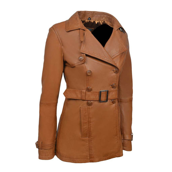 Ladies Samantha Fashion Casual Style Tan Nappa Leather Trench Coat Jacket - LuxurenaMall