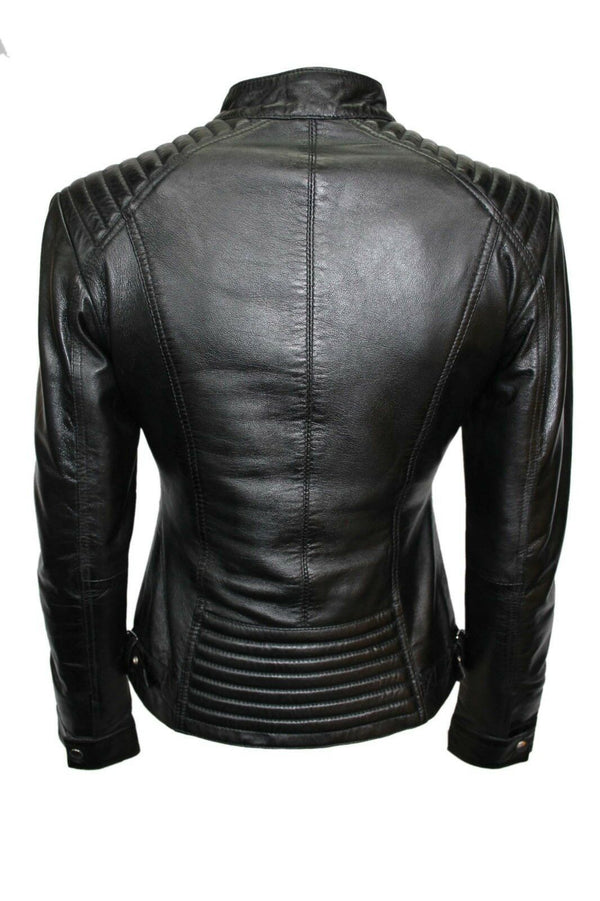 Luxury Ladies Black Casual Style Fitted Motorcycle Real Nappa Leather Jacket - LuxurenaMall