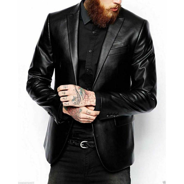 Men's Black Leather Blazer Jacket Coat Genuine Real Soft Leather Coat - LuxurenaMall