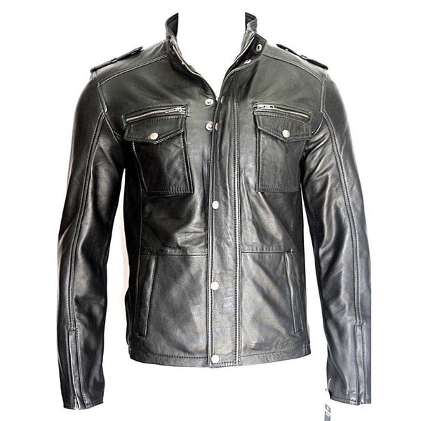 Mens Classic Casual Fitted Designer Style Black Leather Jacket - LuxurenaMall