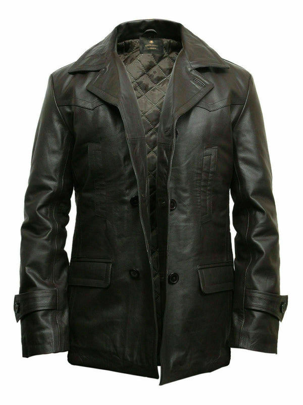 Mens Doctor Who World War 2 German Black Leather Coat - LuxurenaMall