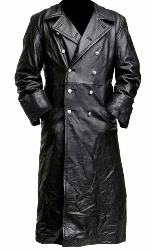 Mens German Classic Military Officer Black Leather Trench Coat - LuxurenaMall