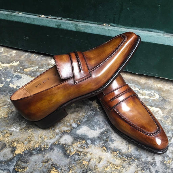 Mens Handmade Cognac Patina Classic Loafers Formal Dress Custom Made Leather Shoe - LuxurenaMall