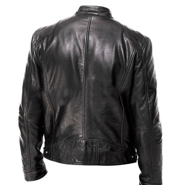 Mens Inception Dom Cobb Leonardo DiCaprio Black Leather Biker Jacket - LuxurenaMall