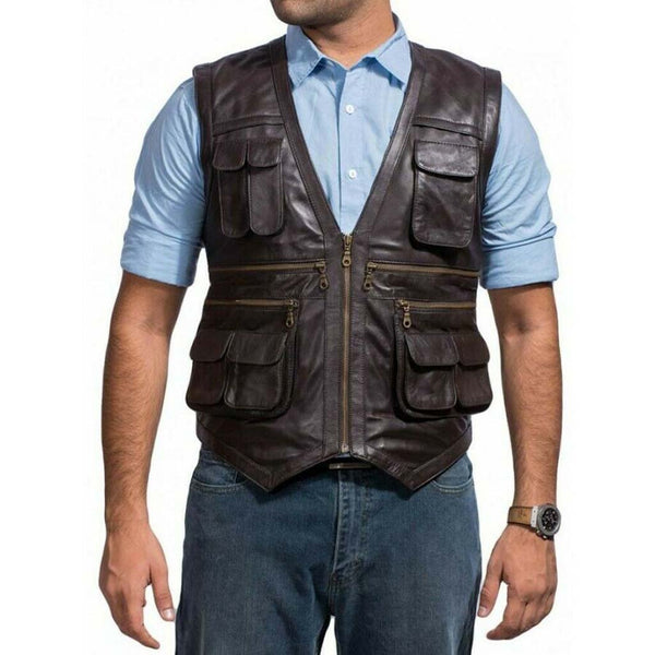 Mens Jurassic World Chris Pratt Owen Grady Brown Leather Vest - LuxurenaMall