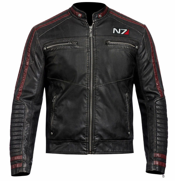 Mens N7 Mass Effect 3 Commander Shepard Motorcycle Black Leather Biker Jacket - LuxurenaMall