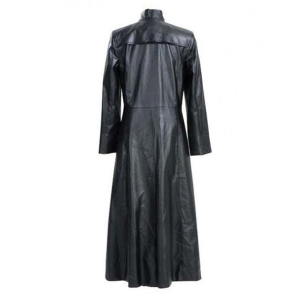 Mens Neo Matrix Trench Coat Keanu Reeves Black Leather Trench Coat Gothic Jacket - LuxurenaMall