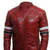 Mens Retro 2 Cafe Racer Antique Brando Red Leather Biker Jacket - LuxurenaMall