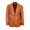 Mens Tailored Fit Smart Look Two Button Tan Leather Blazer Coat - LuxurenaMall