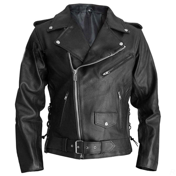 Mens Terminator Marlon Brando Hollywood Style Black Real Leather Biker Jacket - LuxurenaMall