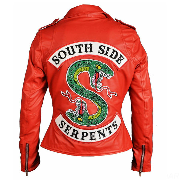 New Women's Riverdale Southside Serpents Cheryl Blossom Faux Leather Jacket
