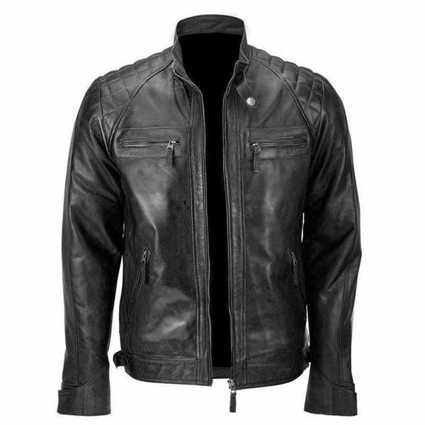 Skull Ride Distressed Cafe Black Racer Motorcycle Leather Jacket for Men - LuxurenaMall