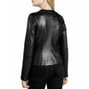 Women Ladies Real Genuine Leather Jacket Black Slim Fit - LuxurenaMall