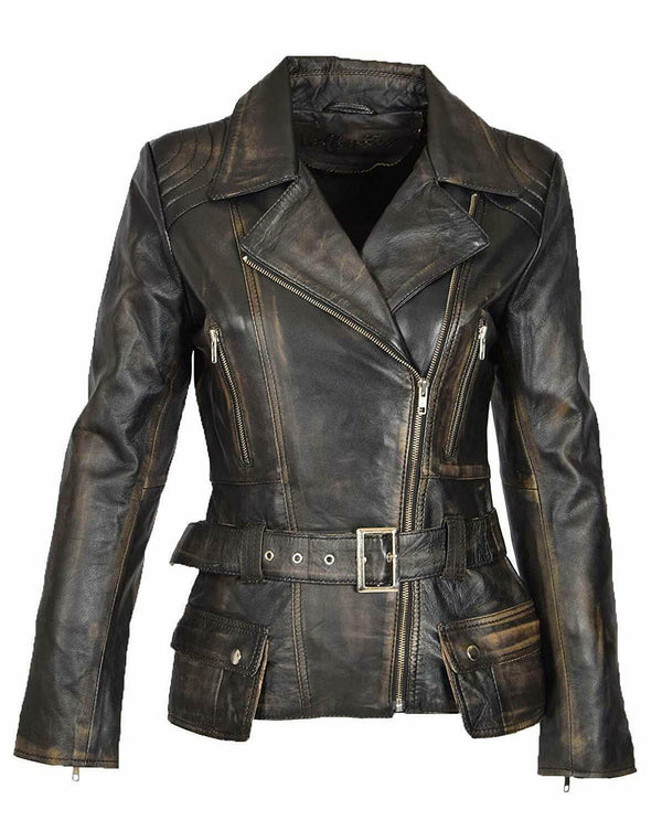 Womens Brando Café Racer Motorcycle Vintage Distresse Brown Leather Biker Jacket