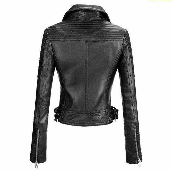 Womens Cafe Racer Motorcycle Quilted Black Leather Biker Jacket - LuxurenaMall