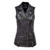 Womens Casual Style Fashion Designer Sleeveless Black Leather Waistcoat - LuxurenaMall