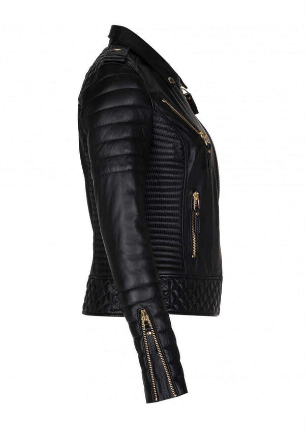 Womens Diamond Quilted Slim Fit Kay Michaels Black Leather Biker Jacket