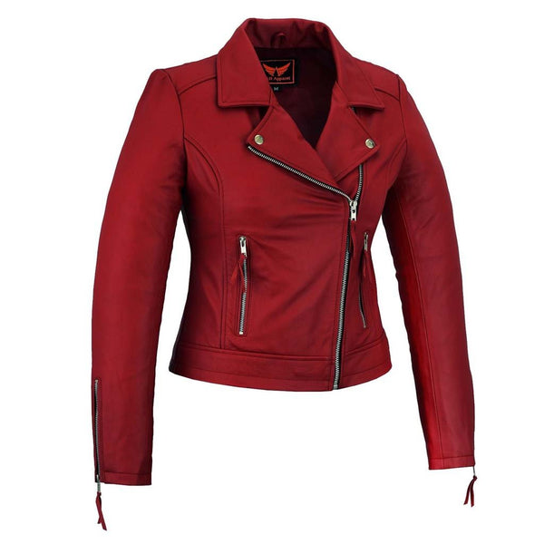Womens Motorcycle Red Leather Biker Jacket - LuxurenaMall