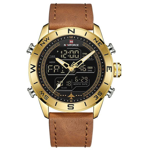 NAVIFORCE 9144 Men Fashion Gold Sport Watches Mens LED Digital Quartz Watch Army Military Leather Analog Clock Relogio Masculino - LuxurenaMall