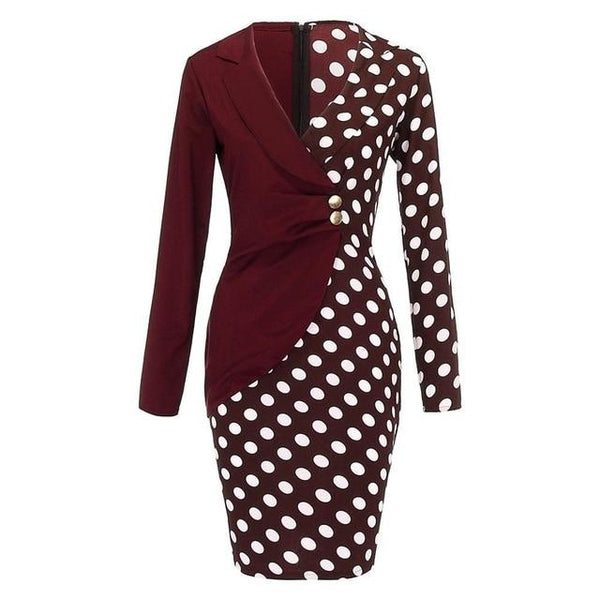 Long Sleeve Buttons Bodycon - LuxurenaMall