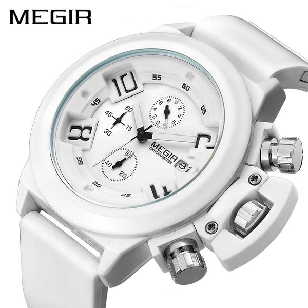 MEGIR Fashion Men Sport Watch Silicone Chronograph Quartz Army Watches Clock Relogio Masculino Mens Wristwatches met Watch Box - LuxurenaMall