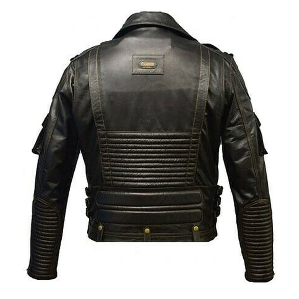 Man's Genuine Cowhide Motorfiets Motorbike Biker Racer Top Leather Jacket Black