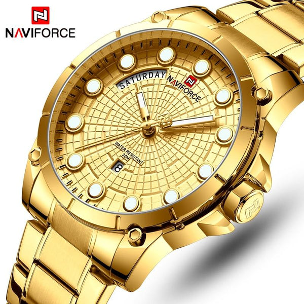 Neviforce Superior Brand Deluxe Watch Men Men Stainless Steel Watch Watch Men Gold quartz Men