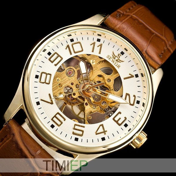 NEW Arrival SEWOR Nice Gold Tone Skeleton Mechanical Watch - LuxurenaMall