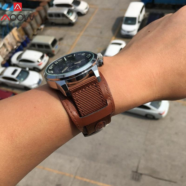 Nylon Watchband Leather Strap Watch - LuxurenaMall