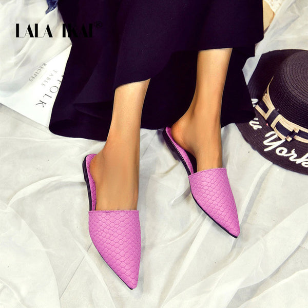 Casual Fish Scaly Pointed Toe Half Flats Slipper Outdoor Hausschuhe - LuxurenaMall