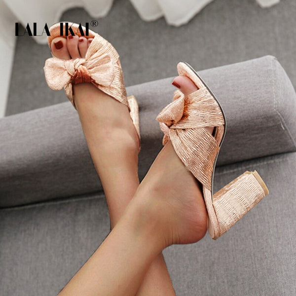 Gold Stylish BowKnot Thick Chunky Lady Pumps - LuxurenaMall