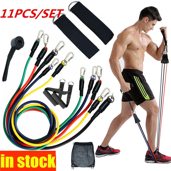 resistance bands with door anchor and handle